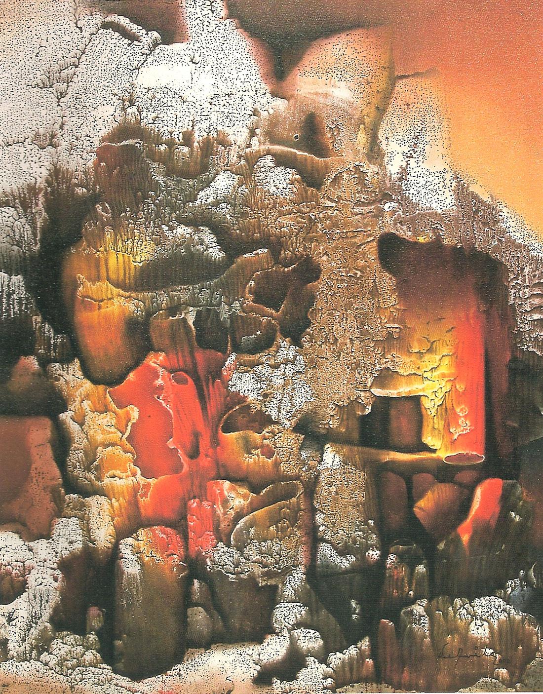 Pintura Corales, óleo y acrílico sobre tela de Enrique Ávila