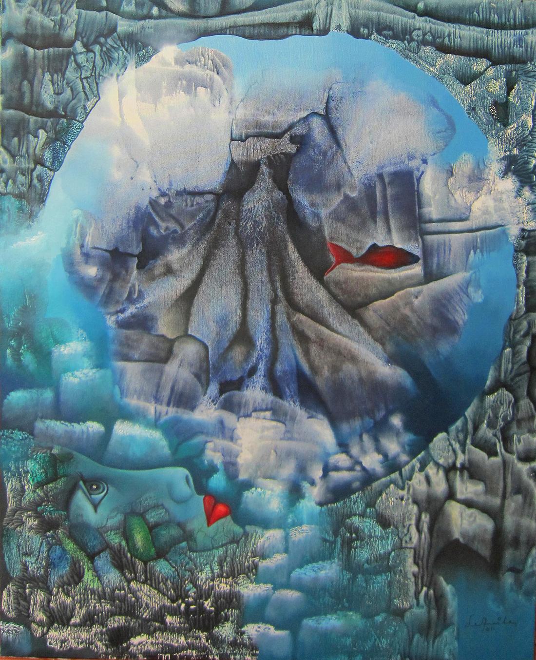 Pintura mas alla del mar, óleo y acrílico sobre tela, Enrique Ávila