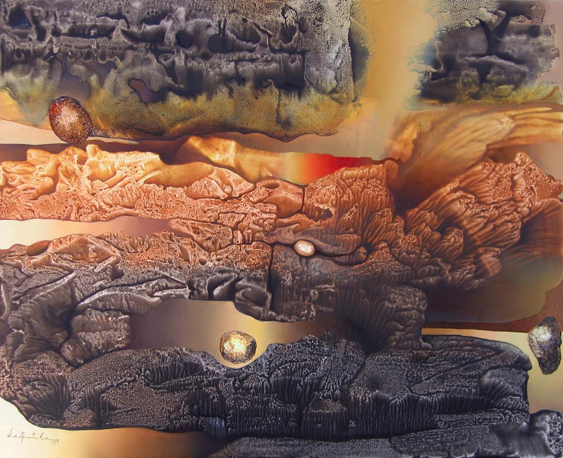 Pintura mas alla del sol, óleo y acrílico sobre tela, Enrique Ávila