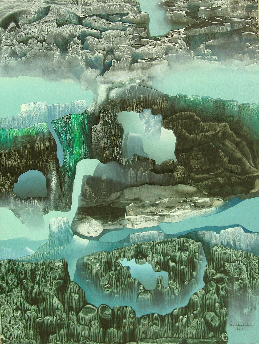 Pintura otro paisaje, óleo y acrílico sobre tela, Enrique Ávila