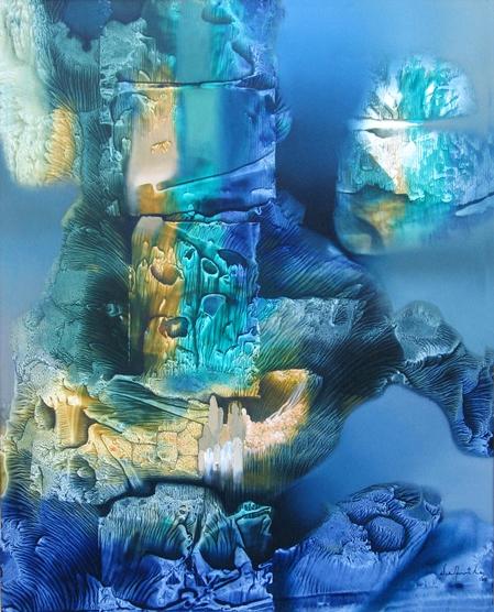Corales en azules y fondo marino.