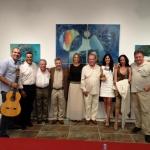 Enrique Avila y Antonino Parrilla junto al presidente de la Diputación de Huelva y los artistas