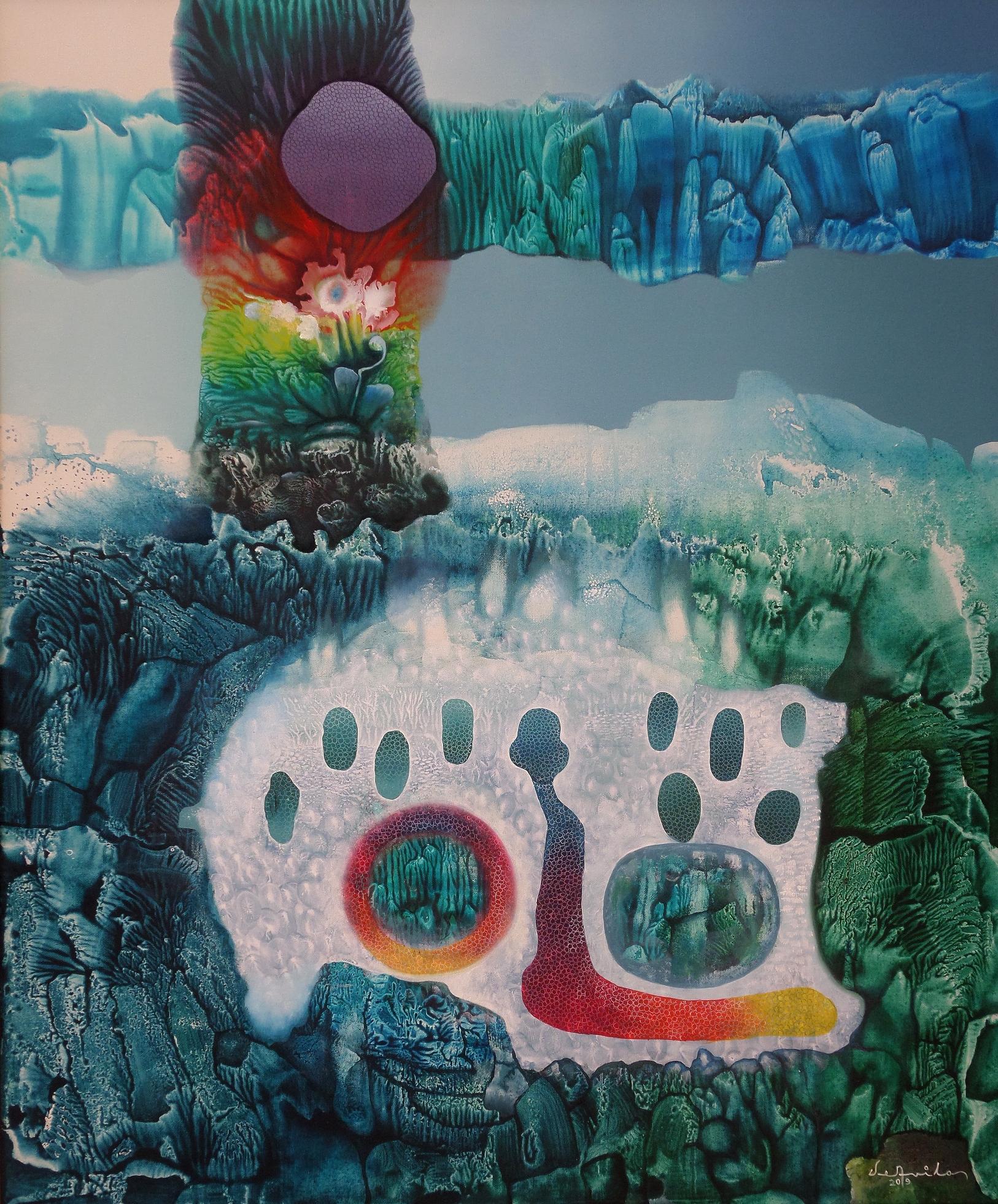 De la serie Mundos infinitos III (óleo y acrílico sobre tela 100 x 81 cm)