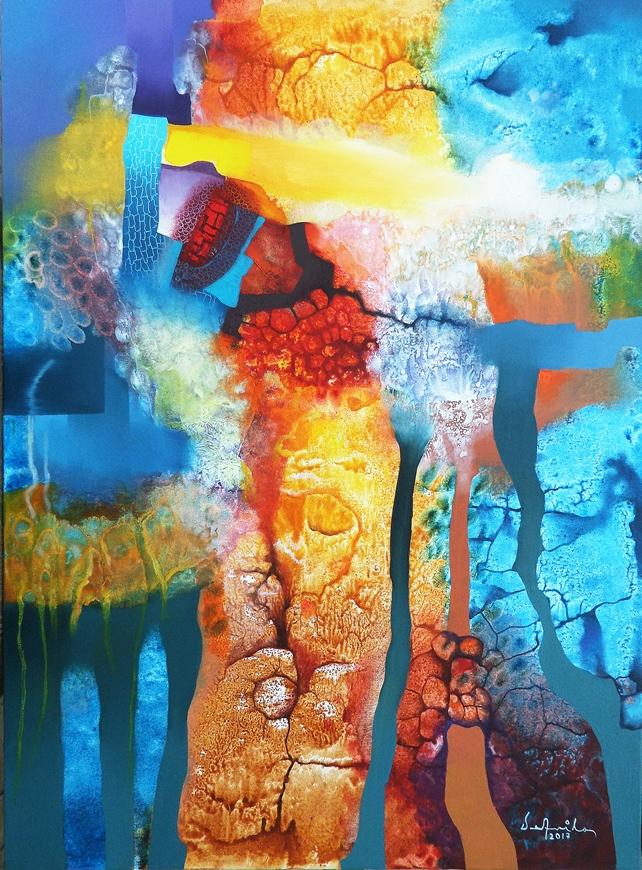 Infancia (óleo y acrílico sobre tela 81 x 60 cm)