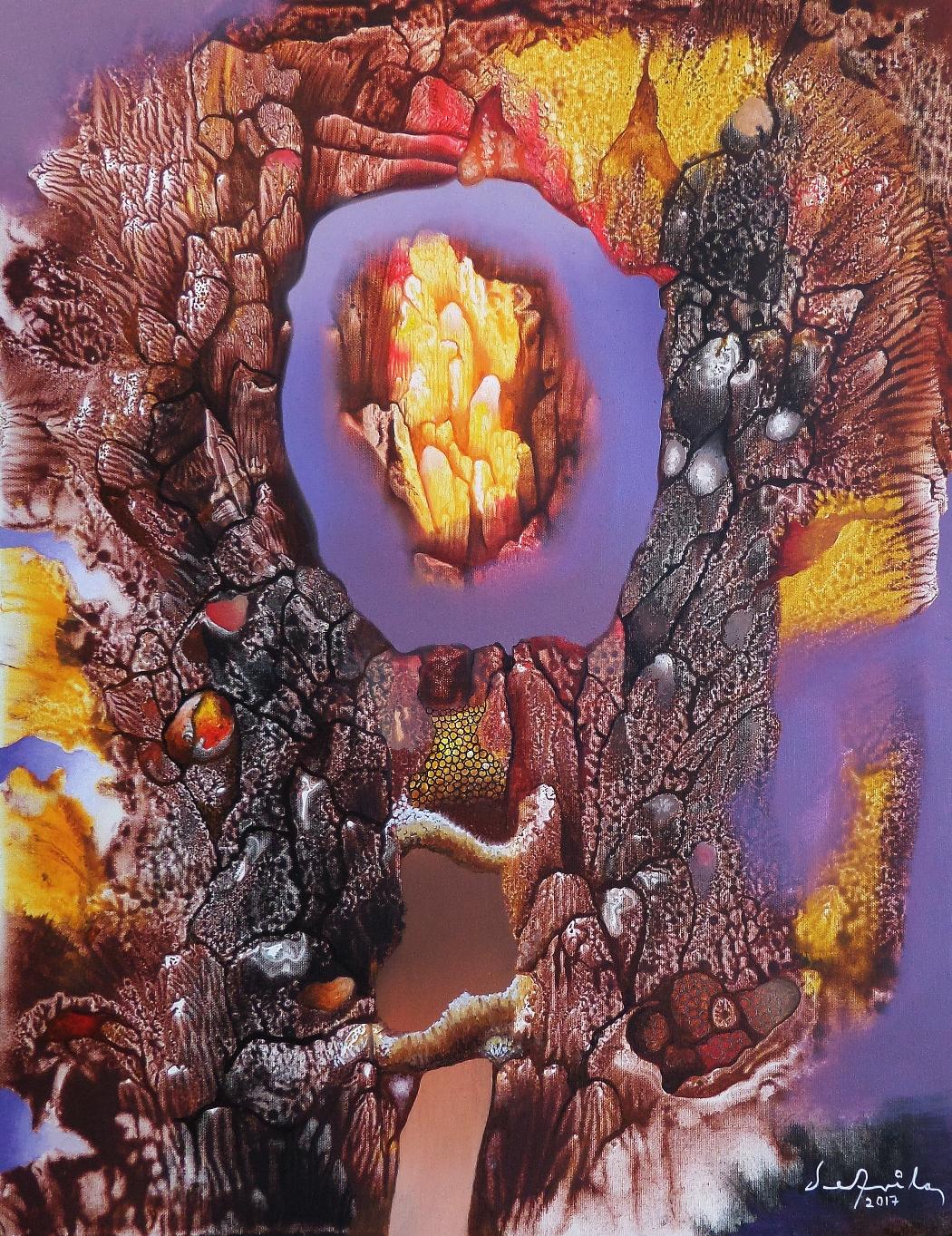 Emociones que se aislan (óleo y acrílico sobre tela 63 x 49 cm