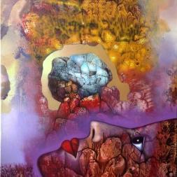 Mirando al universo (óleo y acrílico sobre tela 67 x 48 cm)
