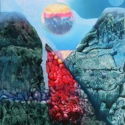 De la serie Mundos infinitos II (óleo y acrílico sobre tela 90 x75 cm)