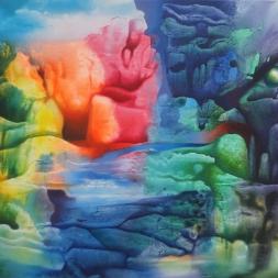 Poema de agua y coral (óleo y acrílico sobre tela/ 57 x 82.3 cm)